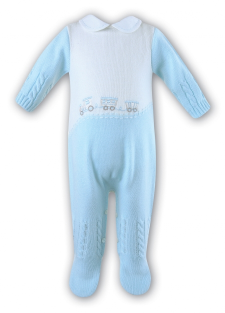 Baby Boys Blue Romper Made by Sarah Louise
