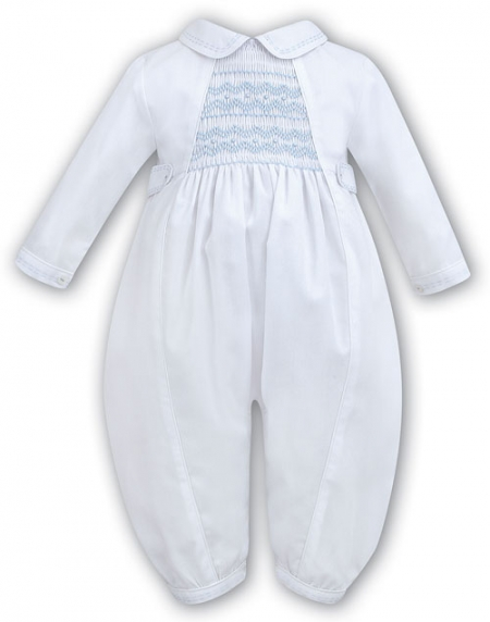 Sarah Louise Baby Boys White Christening Romper With Blue Smocking Style 219