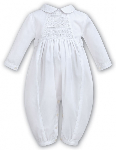 Boys White Christening Outfit with Smocking On The Chest Style 219