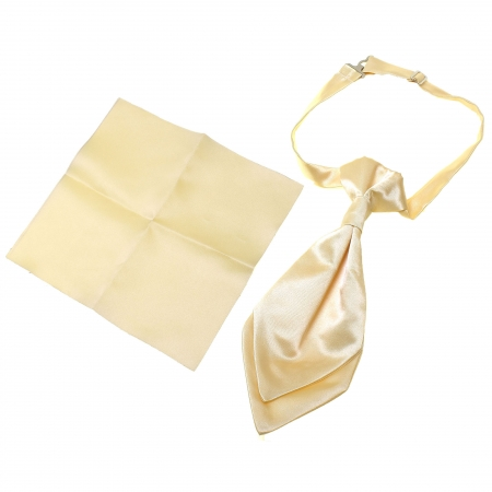 Boy Cravat With Handkerchief In Light Gold Colour