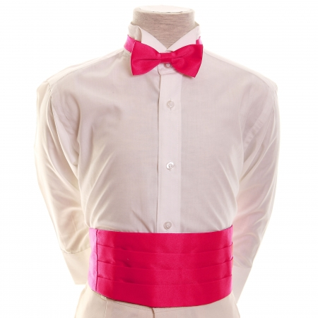 Boys Fuchsia Cummerbund With Bow Tie Set