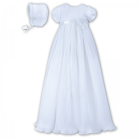 Sarah Louise Baby Girls White Christening Baptism Gown Flower Decoration