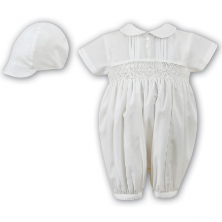 Sarah Louise Baby Boya Ivory Smocked Pleated Romper With Hat Set