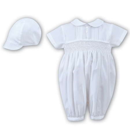 Sarah Louise Baby Boya Smocked Pleated White Romper With Hat Set