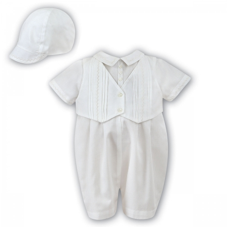 Sarah Louise Baby Boys All in One Pleated Ivory Romper Outfit With Hat
