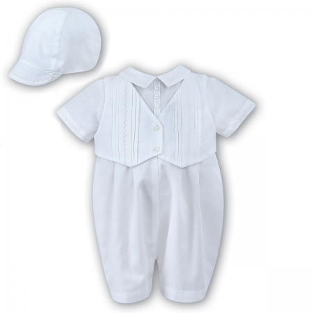 Baby Boys All in One Pleated White Romper Outfit With Hat