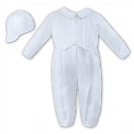 Sarah Louise Baby Boys White Christening Baptism Outfit With Hat