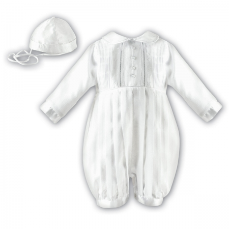 Silk Imitation Sarah Louise Boys White Long Sleeve Christening Baptism Romper With Hat