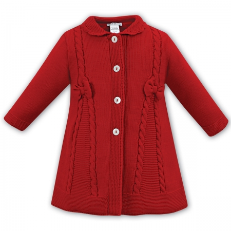 Soft And Warm Sarah Louise Baby And Toddler Girls Red Knitted Coat