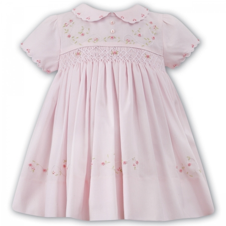 Sarah Louise Baby Pink Smocked Dress With Embroideries