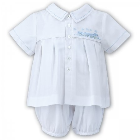 Sarah Louise Baby Boys Two Piece White Dungarees Set