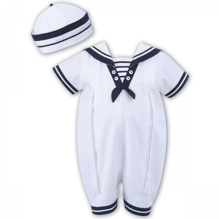 Sarah Louise Baby Boys White Navy Romper Outfit With Hat