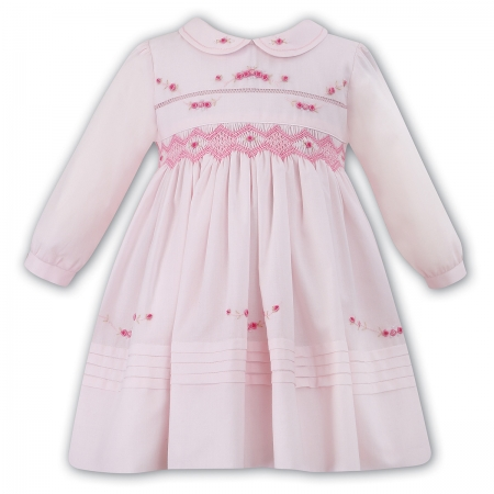 Sarah Louise Baby Girls Pink Smocked Dress With Embroideries