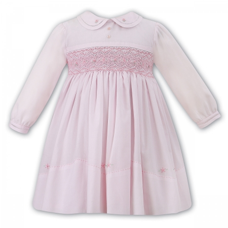 Sarah Louise Baby Girls Pink Dress Smocked Embroidered Across Chest