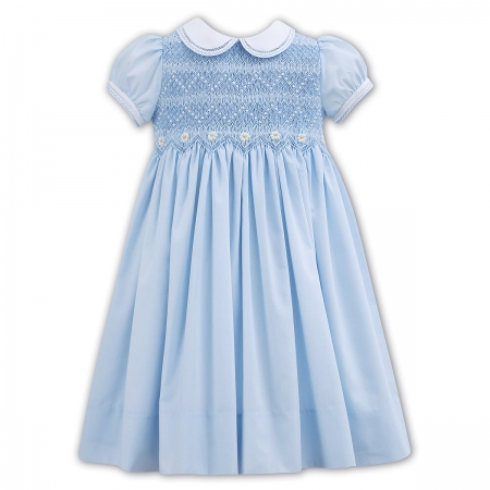 Sarah Louise Spring Summer Smocked Blue Dress Embroidered Daisy