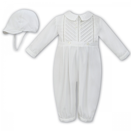 Sarah Louise Baby Boys Side Pleated Ivory Romper With Hat