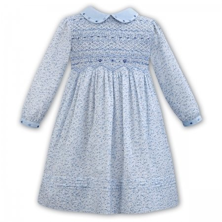 Sarah Louise Blue Floral Smocked Dress Blue Embroideries