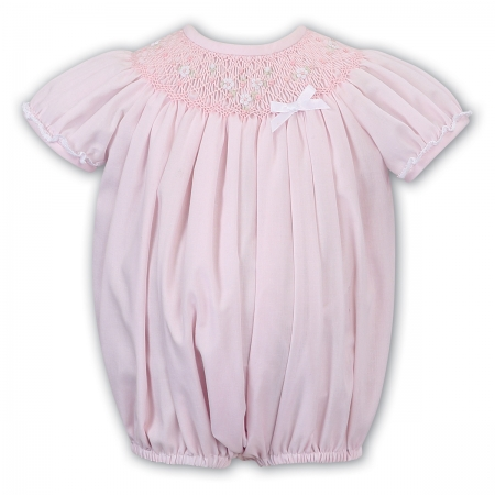 Sarah Louise Pink Smocked Bubble Romper