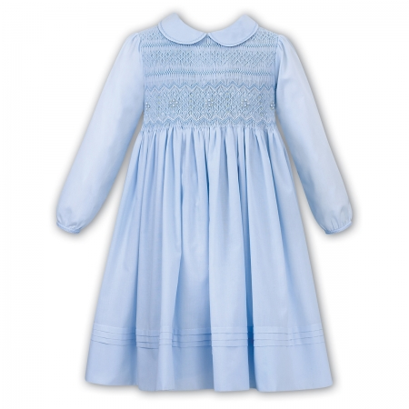 Sarah Louise Blue Smocked Dress Blue White Embroideries