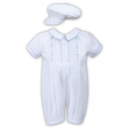 Sarah Louise Baby Boys White Pleated Romper Blue Embroideries