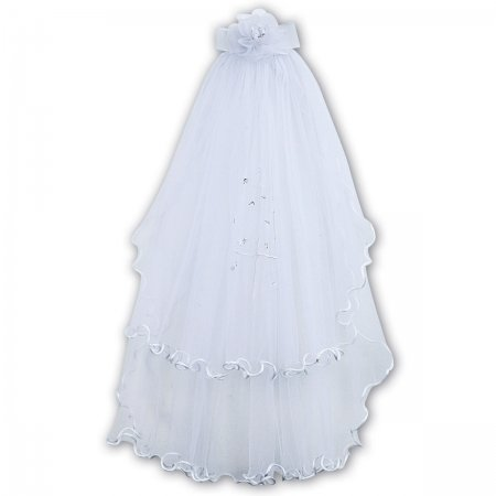 Sarah Louise Frilly Edge White First Holy Communion Veil With A Cross
