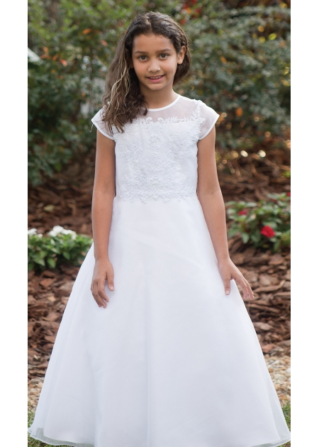 Embroidered Flowers Organza Overlay First Holy Communion Dress