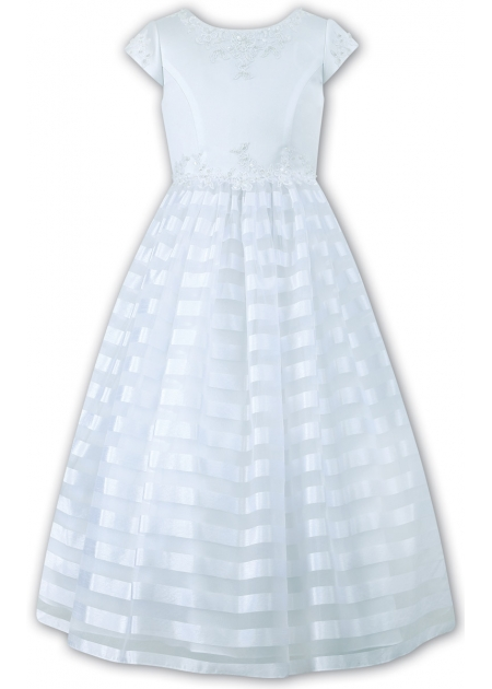 Sarah Louise White Communion With Flower Sequins On Waist And Chiffon Net