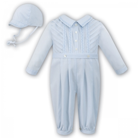 Sarah Louise Baby Boys Long Sleeved Blue Romper Outfit With Hat