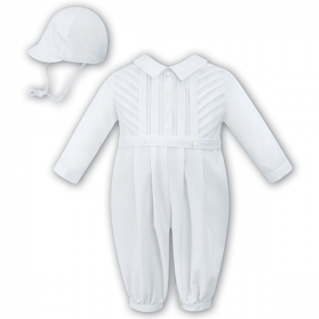 Sarah Louise Baby Boys Long Sleeved White Romper Outfit With Hat