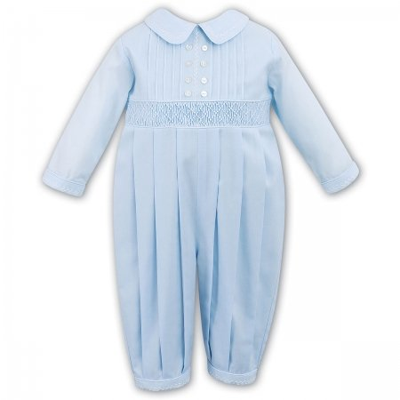 Lovely Baby Boys Blue Smocked Romper By Sarah Louise