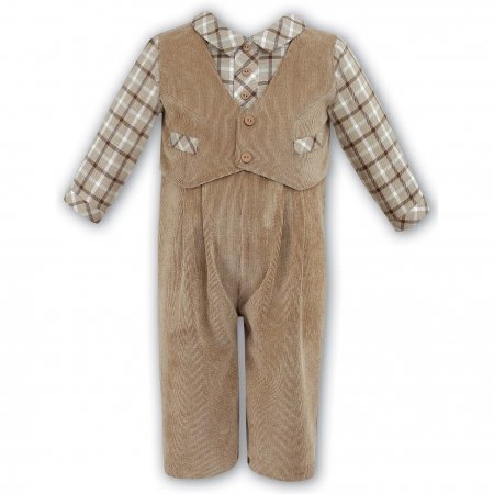 Sarah Louise Sales Baby Boys Tan Corduroy Romper Outfit with Plaid Shirt