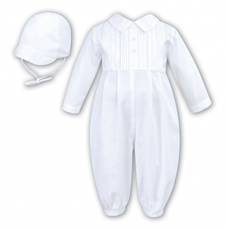 Sarah Louise Baby Boys Outfit White Pleated Romper With MAtching Cap