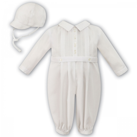 Sarah Louise Baby Boys Ivory Romper And Hat Outfit