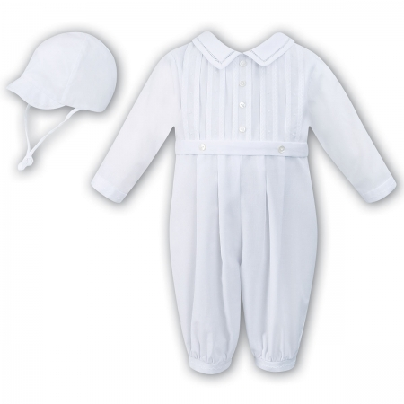 Sarah Louise Baby Boys Long Sleeved Pleated White Romper Outfit