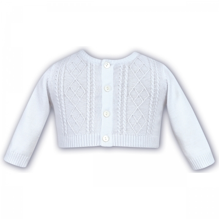 Baby Boys White Cardigan Cable Pattern 100% Cotton