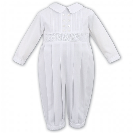 Elegant Baby Boys Pleated White Smocked Romper By Sarah Louise