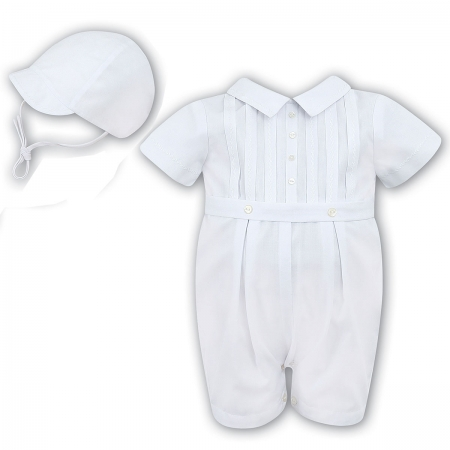 Sarah Louise Baby Boys White Front Pleated Romper Outfit