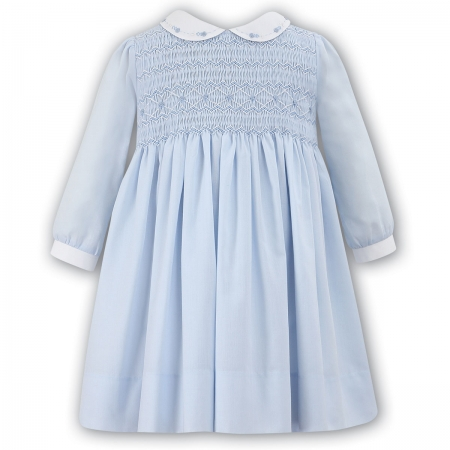 Absolutely Beautiful Sarah Louise Baby Girls Blue Smocked Dress Blue Embroideries