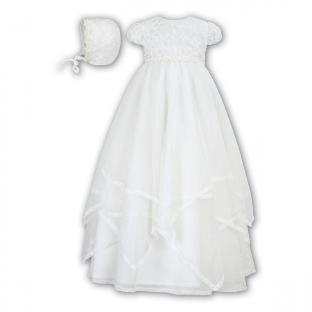 4ed82fb6a sarah louise baby girls flowers and multi layers net ivory christening gown