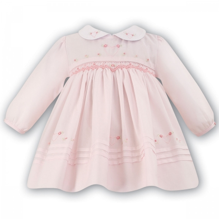 Sarah Louise Baby Girls Pink Smocked Embroidered Dress
