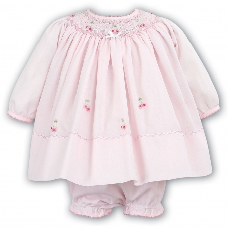 Sarah Louise Baby Girls Pink Smocked Dress And Panty