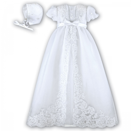 Baby Girls White Christening Robe With Flowers Beads Sequins