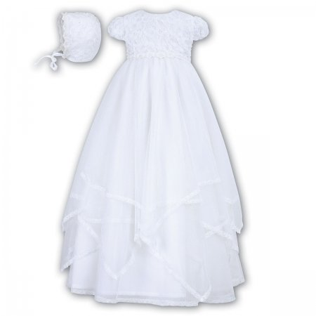 Baby Girls Flowers And Multi Layers Net White Christening Gown