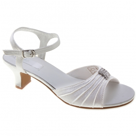 SALE White Satin Shoes For Party Communion or Bridesmaid