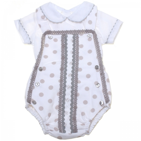 Baby Boys White Grey Polka Dots Grey Lace Romper Outfit