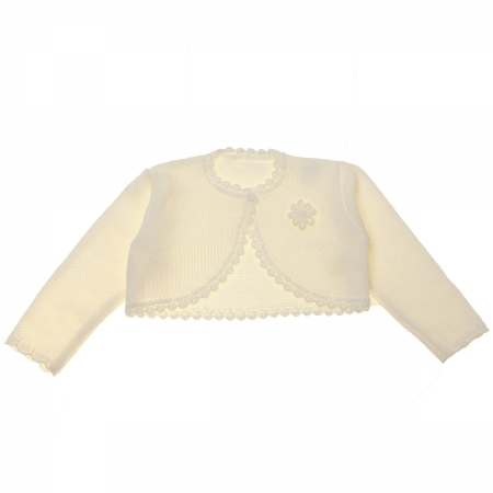 Baby Girls Ivory Bolero With Flower