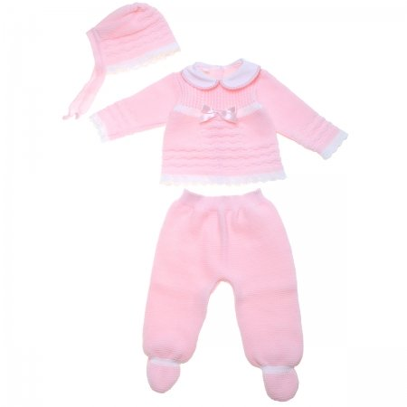 Made In Spain 100% Baby Girls Pink Knitted Set