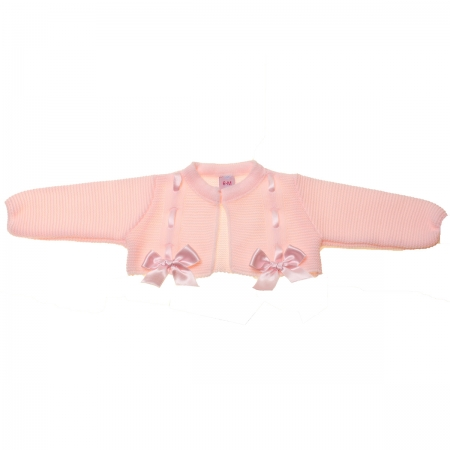 Baby Girls Pink Bolero With Bows