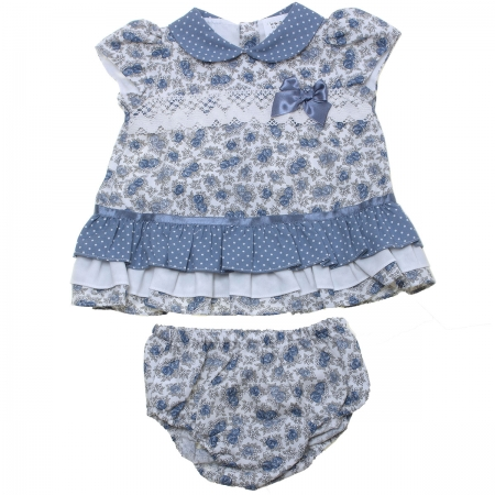 Sale Baby Girls White Blue Floral Dress With Panty