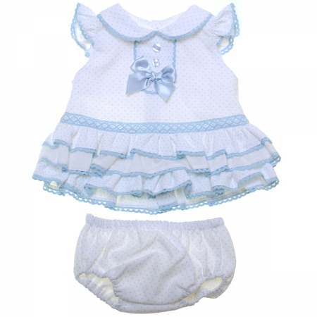 Sale Spanish Baby Girls White Blue Ruffle Dress With Panty